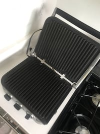white and black electric griddle