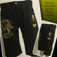 Dragon embroidered COOGI style denim shorts Selkirk