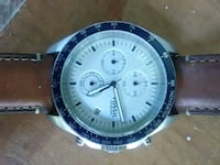 round silver chronograph watch with black leather strap Hartsville, 29550