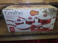 New in box red CeraPan pots and pans, with cooking Washington