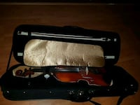 brown and black violin with case