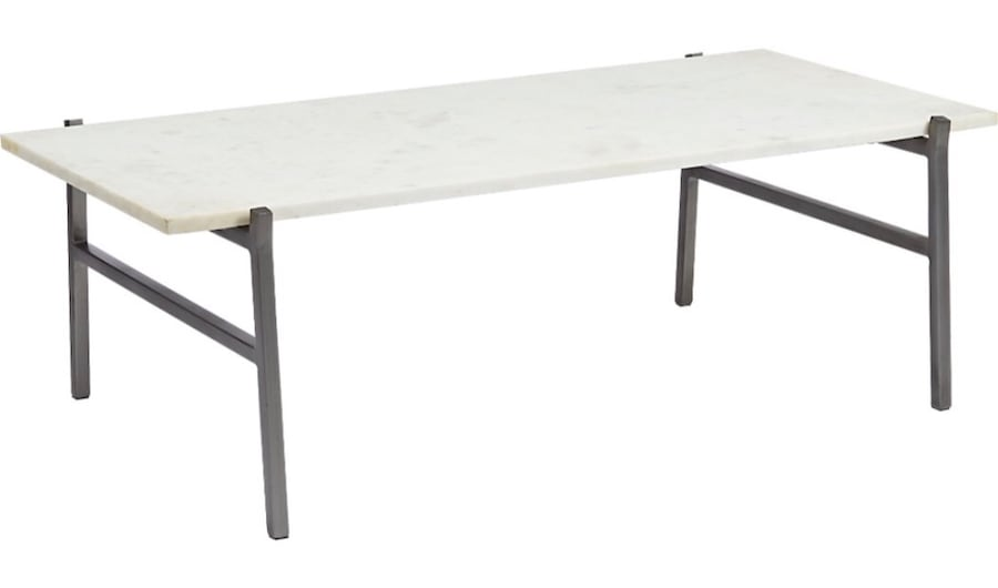 WHITE MARBLE COFFEE TABLE WITH ANTIQUED SILVER BASE 8f93431a-0fff-435b-a9cf-887f30684b36