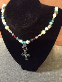 teal,white,and red beaded cross pendant necklace Fairfax, 22033