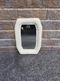 Small Vintage Rattan Wicker Mirror