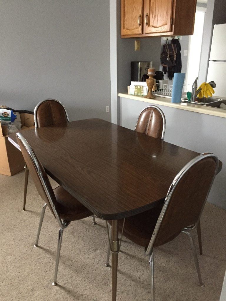 Retro brown dining table 6 chairs