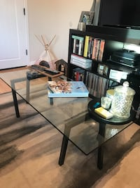 West Elm Floating Glass Coffee Table