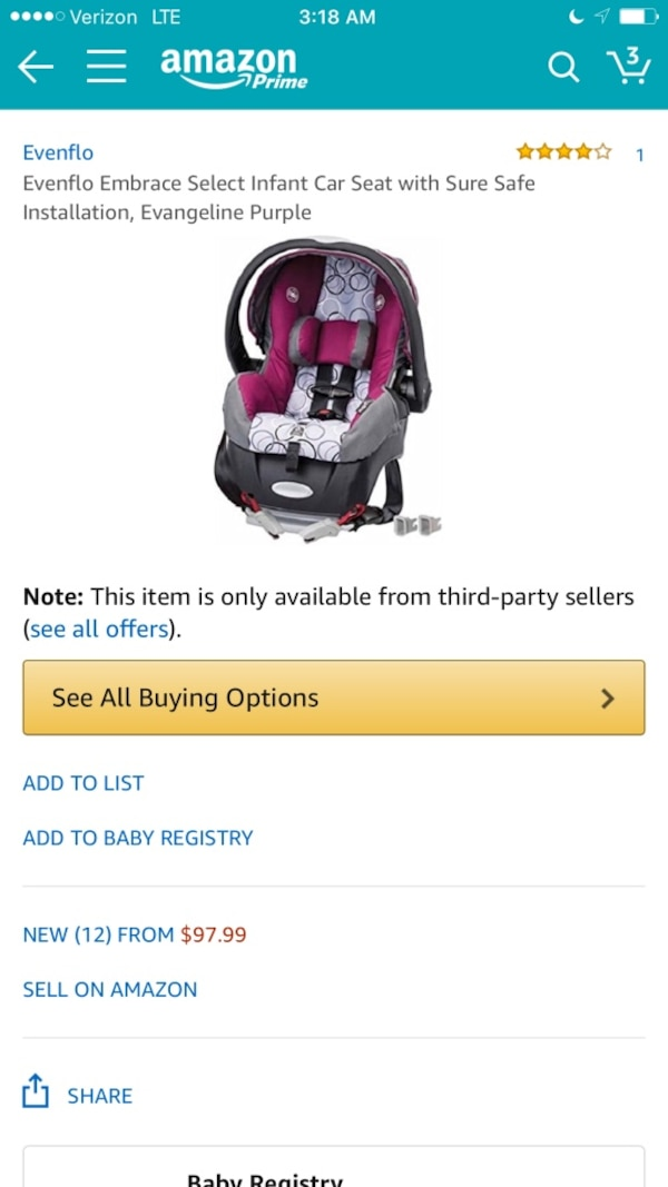 Evenflo Embrace Select Infant Car Seat With Sure Safe Installation Screenshot