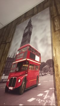 red double decker bus near Big Ben painting Kitchener, N2E 1N6