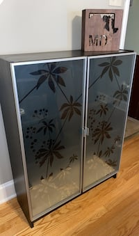 Wood cabinet with glass decorated doors Baltimore, 21230