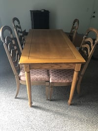 rectangular brown wooden table with four chairs dining set Birch Run, 48415