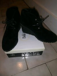 Suede black shoes.  New York