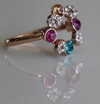 Rose Gold Red Apple Ring with 4 colorful  diamonds  TORONTO