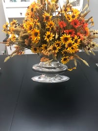 Fall artificial flowers and a unique metal vase 40.00 Langley, V2Y 2V7