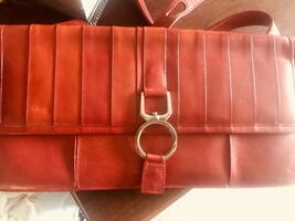 NEW BCBG RED LEATHER PURSE WITH STRAP