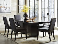 PIECE Charcoal Finish over Ash Veneer DINING TABLE SET Riverside