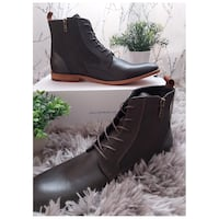 Brown Combat Boots Size 10.
