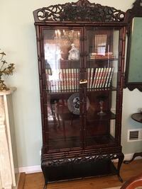 Carved Wood and Glass Curio Cabinets- Matching Pair Northfield