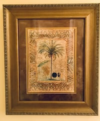 Framed and matted floral  print. Gold filigree frame.  Beautiful!