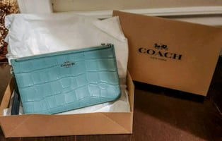 Blue Leather Coach Clutch Purse.