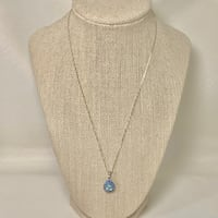 Sterling Silver Aquamarine & Sapphire Pendant with Sterling Box Chain Ashburn