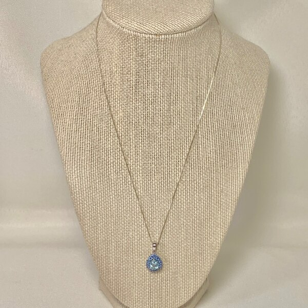 Sterling Silver Aquamarine & Sapphire Pendant with Sterling Box Chain
