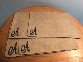 Set of 4 monogrammed placemats
