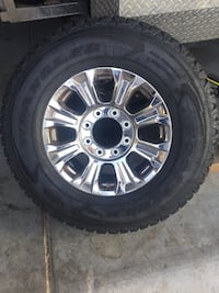 chrome 5-spoke car wheel with tire Las Vegas, 89131
