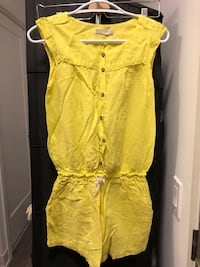 yellow button-up romper