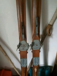 Antique wooden 7 foot skis