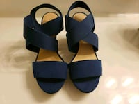 pair of blue leather open-toe wedges Stafford, 22554