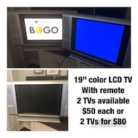 """19"""" color LCD slim TV, 2 TVs available Cumming, 30041"""