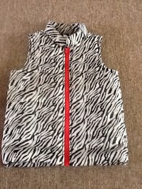 black and white zebra print zip-up vest