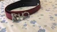 red and black leather belt