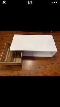 White Acrylic Coffee Table with Swivel Cabinet Dearborn, 48126