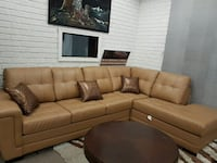 brown leather tufted sectional sofa Ontario, M9V 4J9