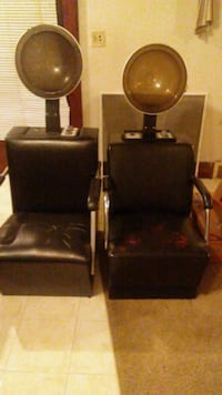 two black leather padded armchairs Cleveland, 44106
