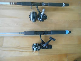2 Fihing rods and reels, ready to fish