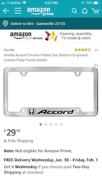 License plate frames Honda Accord Bristow, 20136