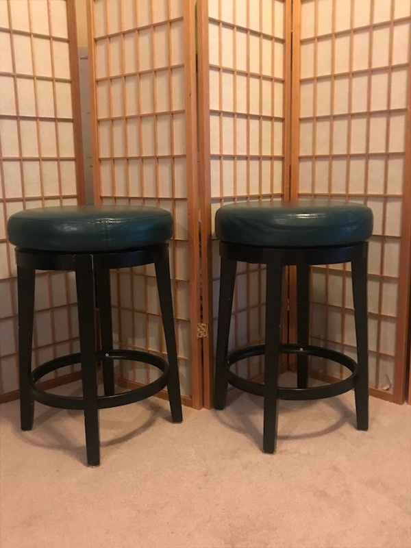 Used Two Teal Leather Padded 24 Bar Stools 25 Each For Sale In