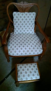 brown wooden framed white floral padded armchair Virginia Beach, 23459