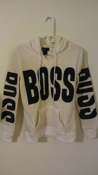 white and black Boss print pull over hoodie