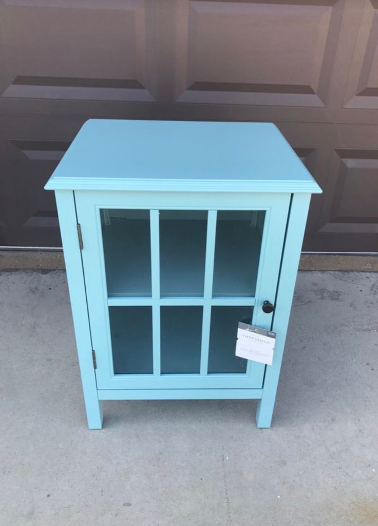 Used Windham One Door Accent Cabinet   Threshold Pewter Aqua For Sale In  ROWLAND HGHTS