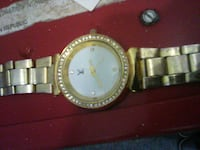 crystal embellish gold Louis Vuitton analog watch