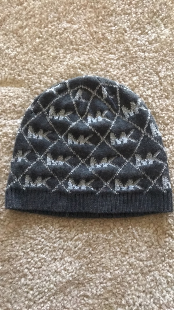 Black and gray knit cap
