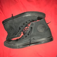 CONVERSE ALL BLACK CHUCK TAYLOR HI TOPS ALL STAR SIZE 11 MENS SIZE 13 WOMENS