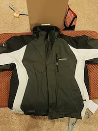 black and white zip-up leather sports jacket Orchard Park, 14127