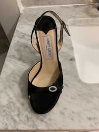 Pair of black leather open toe ankle strap heels 7 1/2 White Plains, 10607