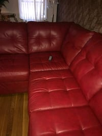 red leather tufted sectional couch Brooklyn, 11226