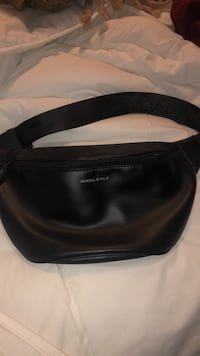 Black faux leather fanny pack North Dumfries