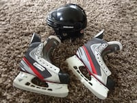 Bauer Hockey skates, (size 5.5) and helmet Port Coquitlam